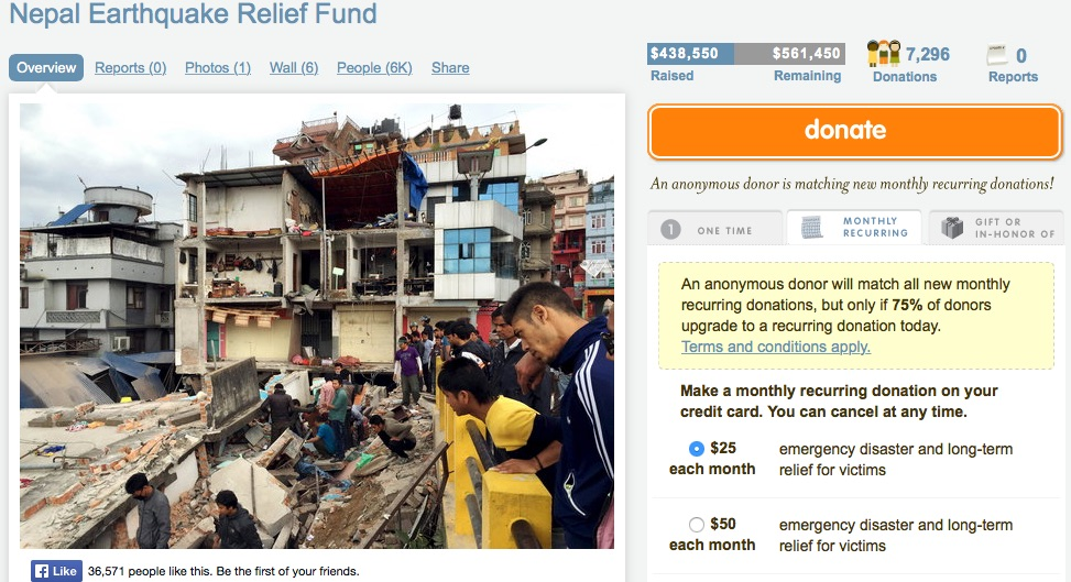 Nepal Earthquake Relief Fund Image