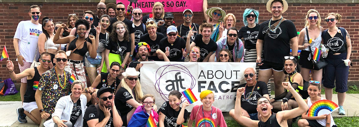 About Face Theatre (AFT) exists to create exceptional, innovative, and adventurous theatre and educational programming that advances the national dialogue on sexual and gender identity, and challenges and entertains audiences in Chicago and beyond.